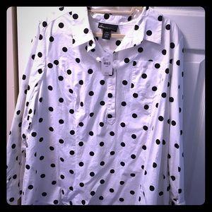 Black and white polka dot button down blouse